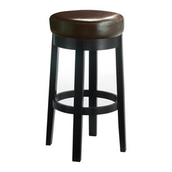 Sunpan Imports - Cedric Backless Padded Counter Stool - Parlor style backless counter stool with a swivel seat. Embossed bonded leather with a black frame and legs. No assembly required. 15.5 in. L x 15.5 in. W x 26 in. H