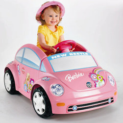 Fisher-Price - Power Wheels Barbie Volkswagen® New Beetle - Features: -Beetle. -Max weight: 50 lbs. -Cute, sporty and fun. -Door really opens and closes for easy in and out. -Single foot pedal operation makes it easy to stop and go. -Six volts of battery power drives 2.5 mph (max.) forward and reverse. -Power Lock® brakes. -Barbie themed graphics add to the real driving fun. -Suitable for ages 18 months - 4 years.