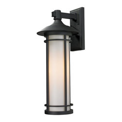 Z-Lite - Z-Lite 529B-BK Woodland 1 Light Outdoor Wall Light in Black - Today's contemporary homes as well as homes of the craftsmen style are particularly well suited with the classic styling of this large outdoor wall mount. This fixture has black finish with matte opal glass.