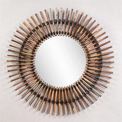 Bassett Mirror - Round Mirror w Bamboo Stick Frame in Natural - Decorative mirror. Bamboo sticks design. 38 in. Dia. (10 lbs.)