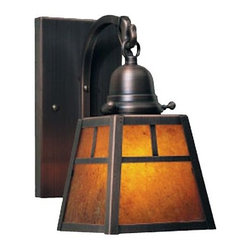 """Arroyo Craftsman - A-Line Outdoor Wall Sconce with T- Bar by Arroyo Craftsman - The A-Line Outdoor Wall Sconce by Arroyo Craftsman features a decorative """"T- bar"""" shade overlay for a rustic look, a gracefully curved arm/hook and a finely finished back plate. All applied metal finishes will continue to mature and change with time. Arroyo Craftsman, located in Baldwin Park, CA, handcrafts and custom-finishes lighting products for residential and commercial applications.The Arroyo Craftsman A-Line Outdoor Wall Sconce with T-Bar is available with the following: Details: Glass shadeBrass supportsT-bar designUL Listed for damp locations. Install indoors or in protected, fully covered outdoor locations. Using UL Listings to help select the right product for your space.Made in the USAOptions: Finish: Antique Brass, Antique Copper (shown), Bronze, Graphite, Mission Brown, Pewter, Raw Copper, Rustic Brown, Satin Black or Verdigris PatinaGlass: Almond Mica, Amber Mica (shown), Clear Seedy, Cream, Frosted, Gold White Iridescent, Off White, Rain Mist, Tan or White OpalescentLighting:One 60 Watt 110 Volt A-19 Medium Incandescent lamp (not included).Shipping:This is a custom product, made-to-order. For information regarding return or cancellation of custom products, please see our Terms and Conditions."""