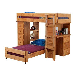 Chelsea Home - Twin Over Twin Student Loft Bed - NOTE: ivgStores DOES NOT offer assembly on loft beds or bunk beds.. Includes slat packs, desk with three drawers and chest ends with five drawers and two shelves. Mattresses not included. Rustic style. Wooden ladder. Metal brackets are used to connect the rails to the headboard and footboard. Rails include a 1.25 in. cleat which is glued and screwed to the rail for extra strength to support the mattress foundation. Drawer is mounted on a rolling metal glide for easy opening and closing. Exceed all safety standards of the consumer product safety commission. Constructed for strength and durability. Can hold up to 400 lbs. of distributed weight. Warranty: One year. Made from solid pine wood. Ginger stain finish. Made in USA. Assembly required. Distance from floor and bottom of top bunk: 49 in.. Drawer: 12 in. W x 19 in. D x 4.5 in. H. Overall: 80 in. L x 80 in. W x 62 in. H (359 lbs.). Bunk Bed Warning. Please read before purchase.Warning: Falling hazard, bunk beds should be used by children 6 years of age and older!