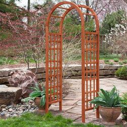 Coral Coast - Coral Coast 7.5 ft. Arched Wood Arbor - 612900 - Shop for Arbors and Trellises from Hayneedle.com! The simple elegance and classic appeal of the Coral Coast 7.5 ft. Arched Wood Arbor makes it the perfect focal point for any garden or yard. This handsome arbor featuring an arched header is constructed of fir wood. Finished in a lasting warm brown tone this arbor features heavy-duty lattice panels which are sturdy enough to support even the most demanding climbing plants. This arbor requires some assembly and comes with easy-to-follow detailed instructions and all necessary hardware. About Coral Coast What if when you closed your eyes you pictured yourself in your own backyard? Coral Coast has a collection of easygoing affordable outdoor accessories for your patio pool or backyard. The latest colors and styles mingle with true classics in weather-worthy fabrics and finished woods ready for relaxation. Make yours a life of leisure.