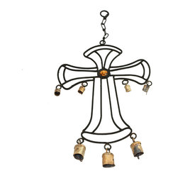 ecWorld - Wrought Iron Hanging Outdoor Garden Cross Wind Chime with Antique Rusted Bells - The Wrought Iron Hanging Outdoor Garden Cross Wind Chime with Antique Rusted Bells is the perfect accent to add a traditional element with a contemporary flair to any decor.