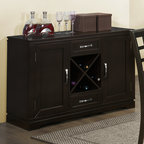 Monarch - Cappuccino Veneer 48in.L Server - Bring fashion to your dining experience with this casual yet contemporary dining server in a rich cappuccino tone. With ample hidden storage, this server also provides space to store up to 4 wine bottles and twin drawer compartments. Perfect for entertaining and dining with guests.