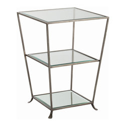 """Arteriors - Arteriors Home - Nick Zinc Finish Mirror Side Table - 6681 - Square iron side table in zinc finish designed with trio of graduated beveled mirror shelves You can never have too much surface display. Features: Nick Oval Side TableZinc FinishBeveledClearPlain Mirror Some Assembly Required. Dimensions: H 29"""" x 20 1/2"""" Sq"""