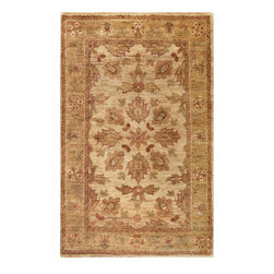Scarborough SCR-5103 Cream Rug - 5'x8' - Scarborough SCR-5103 Cream: Traditional rugs inspired by Persian rugs, Antique Oriental rugs or other traditional area rugs are available now. ModernRugs. om is now also featuring traditional rug designs. Traditional Persian and Oriental rugs from ModernRugs. om are now available in a variety of colors and styles, and complement any space. Our traditional Persian rugs provide an elegant look. These Traditional antique Oriental rugs are timeless and add a touch of class to your home. This area rug is Hand Knotted in with 100% Hemp. The specific colors of this rug include Cream, Honey, Brown, Burgundy, Sage. he primary color of this rug is white.