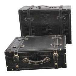 Antique Style Suitcase With Stripes Set of 2, Black - Our warm and welcoming suitcases brings back days of old time. Remember how excited you were when you were a little kid to look into your grandma's old chest, our decorative trunks will bring back those memories and help you create some new ones too. Our hope chest boxes are all handcrafted and tailored to enhance the existing decor of any room in the home. Great to use for your very own treasure chest!
