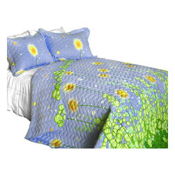 Blancho Bedding - [Dandelion Dancing Night] 3PC Vermicelli-Quilted Patchwork Quilt Set King Size - The [Dandelion Dancing Night] Quilt Set (King Size) includes a quilt and two quilted shams. This pretty quilt set is handmade and some quilting may be slightly curved. The pretty handmade quilt set make a stunning and warm gift for you and a loved one! For convenience, all bedding components are machine washable on cold in the gentle cycle and can be dried on low heat and will last for years. Intricate vermicelli quilting provides a rich surface texture. This vermicelli-quilted quilt set will refresh your bedroom decor instantly, create a cozy and inviting atmosphere and is sure to transform the look of your bedroom or guest room. (Dimensions: King quilt: 94.8 inches x 105 inches Standard sham: 24 inches x 33.8 inches)