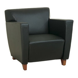 Office Star - OSP Furniture Lounge Seating SL8471 Black Leather Club Chair - Black leather club chair with cherry finish. Shipped assembled with legs unmounted. Rated for 300 lbs. of distributed weight.