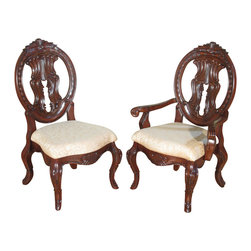 Set of 6 Solid Mahogany Victorian Round Back Dining Chairs - This product is finely constructed from top grade kiln-dried solid mahogany. Its superb quality will add a touch of elegance to your home. Solid mahogany constructionHandcrafted, hand carved (not mass produced) Mahogany finishRound back w/ pierced splatCarved crown Yellow brocade upholstered seat Acanthus leaf accent Cabriole legs Victorian style Set of 6 chairs Customize this product Protect and Care for your furniture