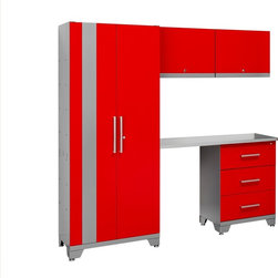 Newage Products - NewAge Products Performance Series Red 5-piece Metal Cabinet Set - Keep your garage organized and clutter-free with the Performance Series cabinet set. Crafted with sturdy steel,this locking set is inspired by the need for speed,featuring a striking red design.