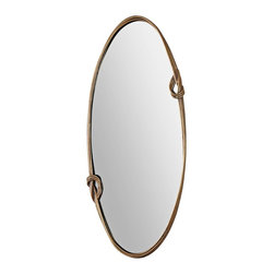 """Uttermost - Contemporary Uttermost Giacomo 22"""" x 50"""" Wall Mirror - Simple yet unique this oval mirror features an hand-forged metal frame. An antiqued gold leaf finish adds a rustic but elegant quality. The mirror can be hung vertically or horizontally. Oval wall mirror. Hand-forged metal frame. Lightly antique gold leaf finish. May be hung horizontally or vertically. Inner mirror measures 20 1/2"""" wide 49"""" high. 50"""" high. 22"""" wide. 2"""" deep. Hang weight is 19 pounds   Oval wall mirror.  Hand-forged metal frame.  Lightly antique gold leaf finish.  May be hung horizontally or vertically.  Inner mirror measures 20 1/2"""" wide 49"""" high.  50"""" high.  22"""" wide.  2"""" deep.  Hang weight is 19 pounds"""