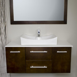 modernbathrooms.ca Vanity Style 3048 - Mid-sized floating vanity with vessel sinks.  All inclusive price  and solid wood construction.