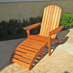 International Caravan - Outdoor Adirondack Chair with Footrest - Cushion not included. Non-attached footrest. Deep seating with arm rests. All weather resistant. UV light fading protection and very sturdy. Made from premium yellow balau hardwood. Dual stain finish. Made in Vietnam. Minimum assembly required. 118 in. W x 64 in. D x 78 in. H (54 lbs.)