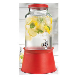 Home Essentials - Mason Jar Drink Dispenser with Red Metal Base - Raise a glass to the simple style of a time gone by with our American classic mason jar drink dispenser. The rustic charm of this high quality beverage dispenser will add an air of luxury to your indoor event or outdoor patio affair. Its attractive red galvanized metal stand conveniently converts to an ice and wine bucket, elevating the jar for an attractive presentation and easy dispensing. Adorable for kids parties and casual chic for grownup celebrations, our fine glass mason jar drink dispenser will set your table setting apart! Its authentic tin look and heavy duty acrylic spout makes this vintage drink dispensre an eye catching and useful piece to behold and display.   * Capacity: 1.5 gallons  * Stand converts to ice and wine bucket