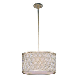 Maxim Lighting - Maxim Lighting Diamond Contemporary Drum Pendant Light X-SGFO55412 - Diamond-shaped crystals gracefully fit the openings in these metal frames finished in a rustic Golden Silver finish, and creamy Off White fabric shades line each frame of the Diamond collection. The oval-shaped pendant is sure to be the focal point of any fine decor.