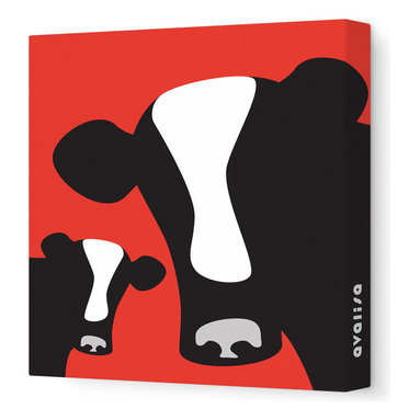 Avalisa - Cows Stretched Wall Art, Red - Moo-ve over, plain and boring walls. These glamour girls are ready to milkshake their stuff and bring all the bulls to the yard. Cows come in classic black and creamy white with your choice of background colors. Remember: You herd it here first.