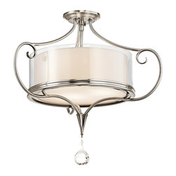 Kichler Lighting - Kichler Lighting 42866CLP Lara Classic Pewter Semi-Flush Mount - Kichler Lighting 42866CLP Lara Classic Pewter Semi-Flush Mount