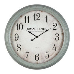 Asher Oversized Wall Clock - 24.5 diam. In. - French your quarters with the Asher Oversized Wall Clock - 24.5 diam. In.! Framed in a distressed French gray, this antiqued piece features a burnished clock face with a romantic Parisian theme. The numerals are clear and easy to read, protected under sturdy glass. This piece runs on precision quartz movement and requires one AA battery, which is not included.About Cooper ClassicsCooper Classics was founded over 50 years ago and is currently operated by the third generation of the Cooper family. Their production and warehousing facilities are located in the Blue Ridge Mountains of Virginia, where they produce uniquely styled mirrors and accessory furniture. Because of their extensive background in wood product manufacturing, they excel in the design and production of solid wood mirror frames and furniture. Cooper's commitment to their customers is to provide products with outstanding quality and styling while maintaining a competitive price.