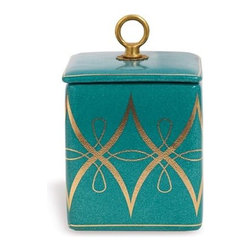 Port 68 - Port 68 Zelda Square Box-Peacock - Material: Porcelain/BrassFresh peacock/turquoise glaze of our square Zelda box features accents of gold and a solid brass ring finial hardware.