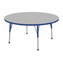 """Ecr4kids - Ecr4Kids Classroom Adjustable Activity Table - Round 48"""" Elr-14115-Gbl-Tb - Table tops feature stain-resistant and easy to clean laminate on both sides. Adjustable legs available in 3 different size ranges: Standard (19""""-30""""), Toddler (15""""-23""""), Chunky (15""""-24""""). Specify edge banding and leg color. Specify leg type."""