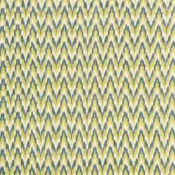 Schumacher - Adari Cotton Ikat Fabric, Citron - Woven in India with traditional ikat dyeing techniques, this fabric has a pedigree. The 100 percent lightweight cotton fabric wears well and suits cushions, curtains and comforter covers. The color choices are varied and the classic style is enduring… get sewing!
