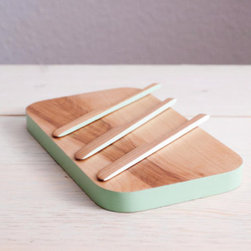 Cheese Board Set with Mint Ombre Accent by Silver Pine Woodworks - The birch wood of this cheese board set with spreaders is so smooth and beautiful that mint seems to be the perfect color complement. Pair it with a pinch pot and mint mug, and lay them out as a set at your next gathering.