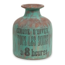 Rustic Blue French Paradiso Short Vase - *French circus script lends this collection a Provencal taste. Made of handcrafted ceramic, in rich, earthen hues, the vases create a compelling focal point when displayed in multiples, as well as individually set atop a table.