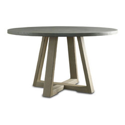 Brownstone Furniture Saratoga Round Dining Table - The Saratoga table collection offers a unique blend of beautiful cement tops with sold oak bases. The architectural lines of the collection's design give an updated feel, while rich, smoke colored cement tops add depth and beauty that is special and distinctive.