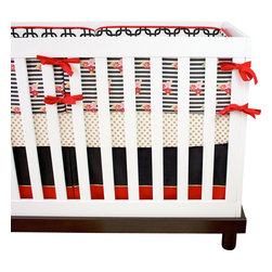"""Modified Tot - Baby Bedding Crib Set, Golden Child - A modern take on the golden, girly nursery. This crib set features bold black and white stripes, softened with coral and gold flowers. The three piece set includes bumpers with hand-stitched fabric ties and contrasting piping, a fitted sheet with elastic all the way around and a four-sided skirt with a 15"""" drop. Bumpers are created in six separate pieces for easy transition to a toddler bed, they measure 1"""" thick and 10"""" high. All items are proudly made in the USA. All products are made to order."""
