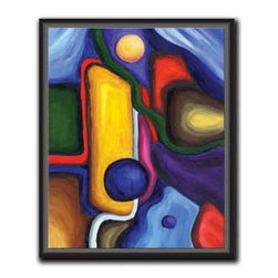 """Abstract Grand 12x15 Print - """"Abstract Grand"""" is a contemporary canvas giclee by Aubrey Freeman. We present this to you in a 1/2"""" black floater frame with no lip or edge of frame overlapping the face of your picture. This makes for an overall framed size of 12x15."""