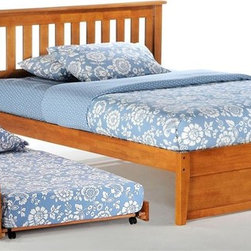 Night & Day Furniture - Rosemary Platform Bed in Medium Oak w Trundle - Bed includes headboard, footboard, rail, slat and trundle. 100% Malaysian Rubberwood construction. Warranty: 10 years. Medium Oak finishBed dimensions:. Twin Headboard: 41.3 in. W x 44.7 in. L (22 lbs.). Twin Footboard: 16.3 in. W x 42.4 in. L (11 lbs.)Have you ever noticed that rosemary will grow nearly anywhere, in nearly any environment? And it adds great taste to whatever it's combined with. That's one attractive, tough and versatile ingredient. Similarities to our Rosemary bed are absolutely striking.