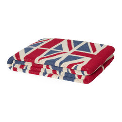 "In 2 Green - Eco Vintage Union Jack Throw - Our throws are all knit in the USA with a blend of recycled cotton yarn (74% recycled cotton yarn, 24% acrylic, 2% other), generously sized at 50"" x 60"" and machine wash and dry...how easy is that!"