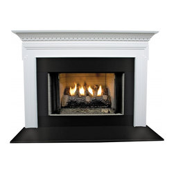 """Forshaw - Mt. Vernon MDF Primed White Fireplace Mantel Surround - 36 inch - Model: SYE-36MTVRNMDF-PRIME. Primed Mantel. Simple elegance and understated styling. For home use. Ready to install. Dimensions: 47"""" (W) x 42"""" (H) x 6.5"""" (L) x 69"""" (OL) x 55.25"""" (OH) x 7.25"""" (S). This (MDF Primed White) mantel is ready to be painted."""