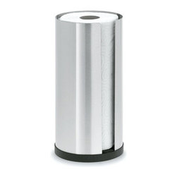 Blomus - CUSI Paper Towel Holder - Cylinder - The CUSI Paper Towel Holder by Blomus for modern organization and storage in the kitchen. Beautiful in function and design, the cylinder container can hold one standard sized paper towel roll with a convenient slot for easy accessibility. Crafted with high quality stainless steel, so cleaning is quick and simple.