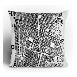 "DENY Designs - CityFabric Inc NYC Throw Pillow - Wanna transform a serious room into a fun, inviting space? Looking to complete a room full of solids with a unique print? Need to add a pop of color to your dull, lackluster space? Accomplish all of the above with one simple, yet powerful home accessory we like to call the DENY Throw Pillow! Features: -CityFabric Inc collection. -Material: Woven polyester. -Top and back color: Print. -Sealed closure. -Spot treatment with mild detergent. -Made in the USA. -Closure: Concealed zipper with bun insert. -Small dimensions: 16"" H x 16"" W x 4"" D, 3 lbs. -Medium dimensions: 18"" H x 18"" W x 5"" D, 3 lbs. -Large dimensions: 20"" H x 20"" W x 6"" D, 4 lbs."