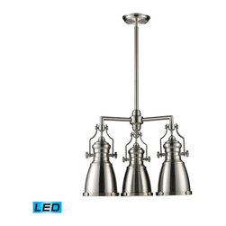 Landmark Lighting - Landmark Lighting Chadwick 66120-3-LED 3-Light Chandelier in Satin Nickel - LED - 66120-3-LED 3-Light Chandelier in Satin Nickel - LED - 800 Lumens belongs to Chadwick Collection by Landmark Lighting The Chadwick Collection Reflects The Beauty Of Hand-Turned Craftsmanship Inspired By Early 20Th Century Lighting And Antiques That Have Surpassed The Test Of Time. This Robust Collection Features Detailing Appropriate For Classic Or Transitional decors. White Glass Compliments The Various Finish Options Including Polished Nickel, Satin Nickel, And Antique Copper. Amber Glass Enriches The OiLED Bronze Finish. - LED, 800 Lumens (2400 Lumens Total) With Full Scale Dimming Range, 60 Watt (180 Watt Total)Equivalent , 120V Replaceable LED Bulb Included Chandelier (1)