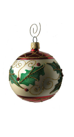 Holly Leaf Ball Oranament, Single - Hand blown and beautifully hand decorated Holly Leaf Christmas Ornament from the Czech Republic.  Beautiful greens, reds and gold against a creamy white backdrop will make this one of your favorite Christmas Tree Ornaments.