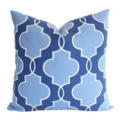 The Pillow Studio - Designer Pillow Cover in Blue Geometric Pattern - Designer pillow cover in blue geometric pillow cover sized 20x20 (Let me know if you would like a custom size.)