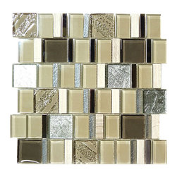 "Euro Glass - Architects Clay  Unique Shapes Cream/Beige Kitchen Glossy Glass and Stone - Sheet size:  11 5/8"" x 11 1/2""        Tile Size:  1 1/8"" x 1 7/8""  1 7/8"" x 1 7/8""        Tiles per sheet:  66        Tile thickness:  1/4""        Grout Joints:  1/8""        Sheet Mount:  Mesh Backed     Sold by the sheet    -"