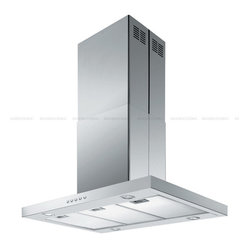 "Spagna Vetro - SPAGNA VETRO 42; SV198Z2-I42 Island-Mounted Stainless Steel Range Hood - Mounting version - Island Mounted 860 CFM centrifugal blower Three-speed mechanical, soft-touch push button control panel Four 35W halogen lights (Type: GU-10) Aluminum multi-layers micro-cell dishwasher-friendly grease filter(s) Machine crafted stainless steel (brushed finish) 6"" round duct vent exhaust and back draft damper Convertible to duct-free operation (requires optional charcoal filter) Telescopic flue accommodates 8ft to 9ft ceilings (optional flue extension available for up to 10ft ceiling) Full Seamless Stainless Steel For residential use only, one-year limited factory warranty"