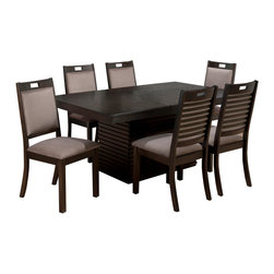 Jofran - Jofran 588-72 Sensei 8 Piece Extension Dining Room Set in Oak - This unique set with contemporary flair will be a special addition to your casual dining room. Sensei Oak features horizontal dental moulding on the table base and server and is paired with a fantastic upholstered chair with an exposed ladder back. Made with comfort and quality in mind, the Sensei collection will be a welcome addition to your home.