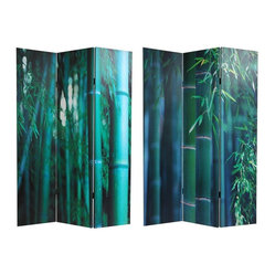 Oriental Furniture - 6 ft. Tall Double Sided Bamboo Tree Canvas Room Divider - An extraordinary pair of photographs. Close cropped, sections of rich color saturated images of close ups of mature bamboo stalks awash in daylight in bold, amazing greens. Warm, attractive images printed onto portable, durable, 3 panel canvas room dividers.Carefully constructed reinforced wood frames of hardy, kiln dried Spruce. Covered top to bottom, front and back, and on the edges, with stretched poly-cotton blend canvasPrinted with high saturation ink to create a beautiful, long lasting imageAlmost entirely opaque. Very little light can pass through the layers of canvas, offering complete privacy. Very tough and durable, yet light and portableGreat for dividing space, providing privacy, hiding unsightly areas or equipment, as a background for plants or sculptures, or defining a cozy spaceAvailable in 3 panels only. Natural, inviting, colorful accent for modern, eclectic interior design and decor. One of a kind decorative art, as well as practical, effective, folding floor screens