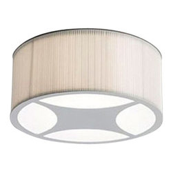 "ZERO - ZERO Mimmi Ceiling Light - The Mimmi ceiling light by Zero was designed by Pelikan and Copenhagen in 1999.  This contemporary ceiling light has a gray painted frame with a white polyester pleated shade.  The Mimmi has an opal acrylic diffuser to prevent a glare from from the bulbs.  This ceiling light will add a simple elegance to any room.  Product description: The Mimmi ceiling light by Zero was designed by Pelikan and Copenhagen in 1999.  This contemporary ceiling light has a gray painted frame with a white polyester pleated shade.  The Mimmi has an opal acrylic diffuser to prevent a glare from from the bulbs.  This ceiling light will add a simple elegance to any room.      Details:                         Manufacturer:                        Zero                                                 Designer:                        Pelikan and Copenhagen                                         Made in:                        Sweden                                         Dimensions:                        Height: 7.8"" (20 cm) X Width: 19.5"" (49.5 cm)                                          Light bulb::                        4 X 60W E27 Medium base bulb                                         Material:                                                                                                            Steel, Polyester fabric, Acrylic"