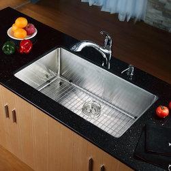 Kraus 32 Inch Undermount Single Bowl Stainless Steel Kitchen Sink KHU100-32 - Add an elegant touch to your kitchen with a unique and versatile undermount sink from Kraus