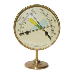 """Weems & Plath Vermont Comfortmeter w/ Thermometer & Hygrometer - The weems  plath vermont comfortmeter w/ thermometer  hygrometer measures 5.75""""H x 4.25""""Dia. It features solid brass  glass construction. It monitors temperature and humidity. It shows fahrenheit and celsius on the left scale  hygrometer shows % of relative humidity on the right scale. It can be used both indoors  outdoors."""