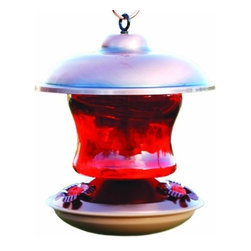 Woodlink - Brushed Copper and Ruby Glass Feeder - Beautiful Ruby Glass Hummingbird Feeder with copper top. Holds 16 ounces. Hummingbirds love it!