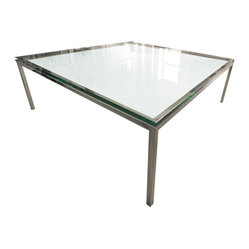 Consigned Beaux Arts Glass Coffee Table - Add a little cool glass vintage to your modern interiors with this chrome frame, glass surface icon. Gently used and in excellent condition, you could place it over a colorful, artistic rug to give it a see-through depth and serve as a thoughtful conversation piece for you and your guests.