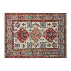 1800 Get A Rug - 100% Wool Super Kazak Hand Knotted Rug 100% Wool Ivory Tribal Design Sh15228 - Our Tribal & Geometric Collection consists of classic rugs woven with geometric patterns based on traditional tribal motifs. You will find Kazak rugs and flat-woven Kilims with centuries-old classic Turkish, Persian, Caucasian and Armenian patterns. The collection also includes the antique, finely-woven Serapi Heriz, the Mamluk Afghan, and the traditional village Persian rug.